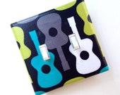 Groovy Guitar Double Light Switch Plate Cover / Lagoon / Children Kids Room / Baby Boy Nursery Decor / Michael Miller Guitars