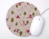 Mouse Pad / Little Red Riding Hood / Vintage Inspired Kawaii / Home Office / Round Mousepad / Kokka Trefle / Japanese Fabric