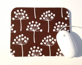 Echo Trees Mouse Pad / Modern Home Office Decor / Brown and White / Queen Ann's Lace