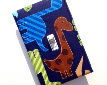 Dinosaur Light Switch Plate Cover / Baby Boy Nursery / Kids Room / Green, Blue, Brown, Tan / Ann Kelle Urban Zoologie Dinos Bright Primary