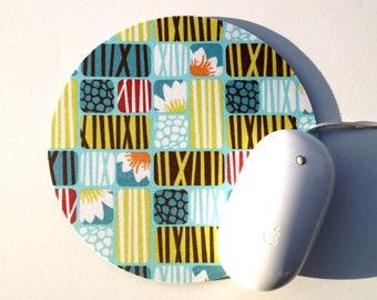 Lotus Mouse Pad / Home Office Decor / Round Mousepad / Pond Lotus Organic Fabric / Slightly Smitten Kitten Designs