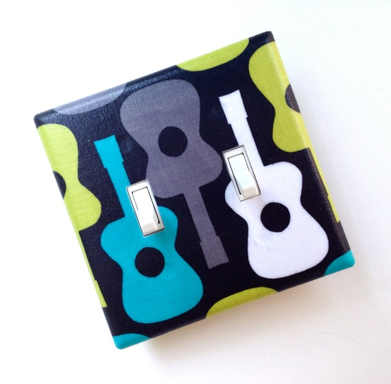 Groovy Guitar Double Light Switch Plate Cover / Lagoon / Children Kids Room / Baby Boy Nursery Decor / Michael Miller Guitars