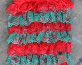 Lace romper - Red Green - Christmas Photography Prop - With or without straps
