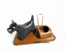 """New Exceptional Wooden Pipe Stand for Tobacco Smoking Pipe . Handmade Ash-Tree """"SCOTTISH TERRIER"""".....LIMITED Edition....."""