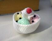 Kawaii Amigurumi ice-cream sundae in crocheted bowl