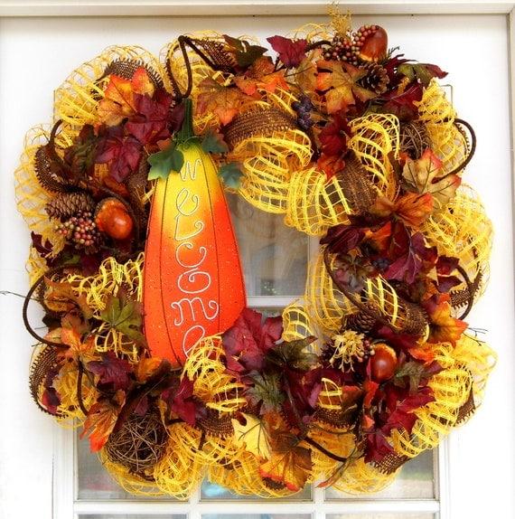 Fall Wreath-Welcome-Autumn-Leaves-Mesh