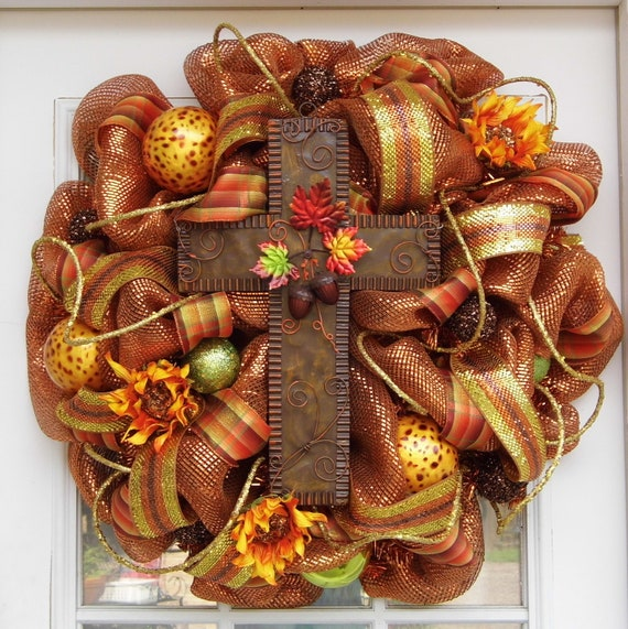 Fall Wreath, Cross Wreath, Mesh Wreath