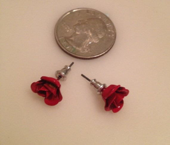 80's   Vintage   Red Rose earrings  New Wave MOd Fashion