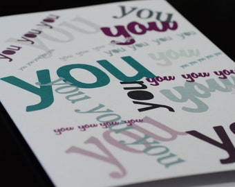 Thinking of YOU -  greeting card - Single (1) card printed on Metallic Paper