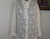 Charming White Lace Blouse/Button Up Shirt-Bobbie Brook