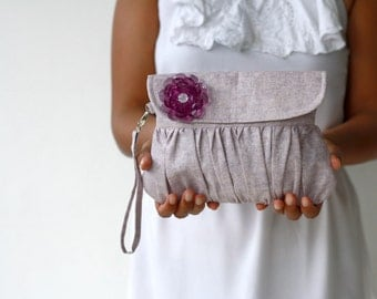 Rhapsody Purple Linen Clutch Pleated Purse with Purple beaded flower
