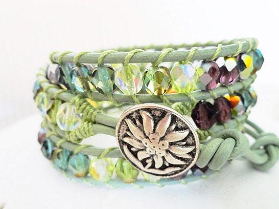 Sweet Serendipity Beaded Leather Wrap Bracelet - Mint green bracelet - sage triple wrap - cottage chic - bohemian boho jewelry