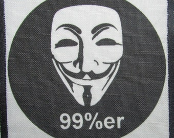 Printed Sew On Patch - 99 PERCENTER - Occupy Wall Street