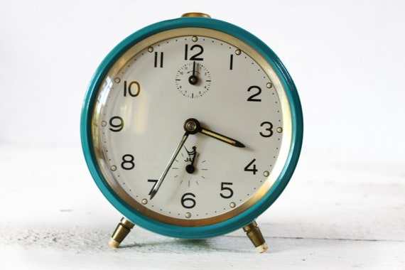 Vintage French JAZ  Alarm clock - two colors - Blue - turquoise