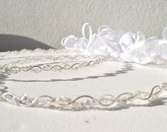 Swarovsky  crystals bridal wreath - Wedding wreath - Christian Orthodox Stefana - arzanto wire & swarovski crystals-set of two