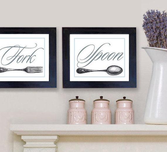 Kitchen Art 24cm: Wall Decor Kitchen Art Knife Fork Spoon Art Prints Kitchen