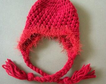 Newborn Earflap Hat, Baby Crochet Hat, Girl Red Hat