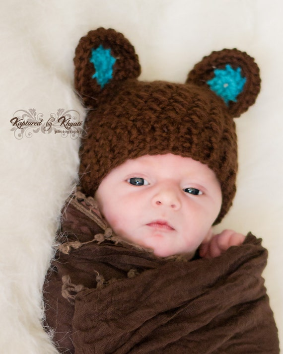 Crochet Newborn Hats : Baby Hat with Ears, Baby Boy Hat, Newborn Hat, Crochet Baby Bear Hat