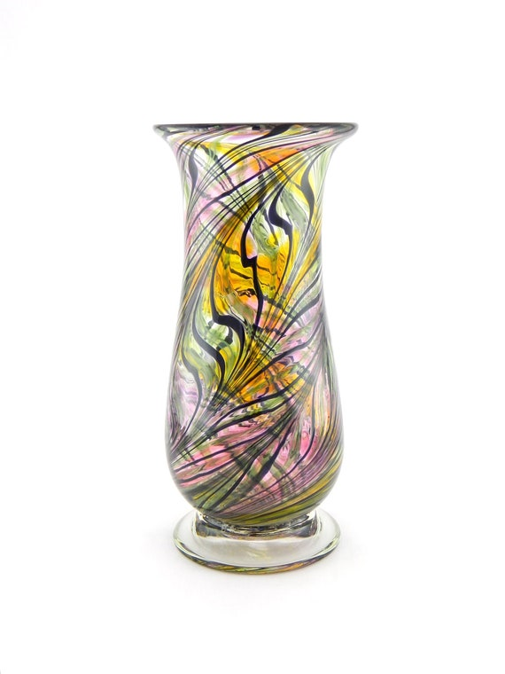 Hand Blown Art Glass Vase - Amber Gold, Hyacinth Purple, and Pink