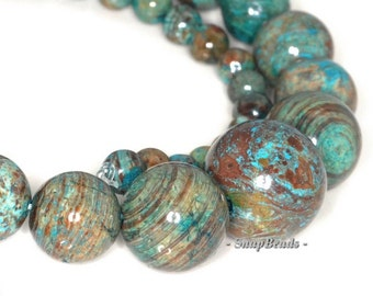Turquoise Calsilica Gemstones Turquoise Blue Green Graduated Round 6-16mm Loose Beads 16 inch Full Strand (90113286-125A)