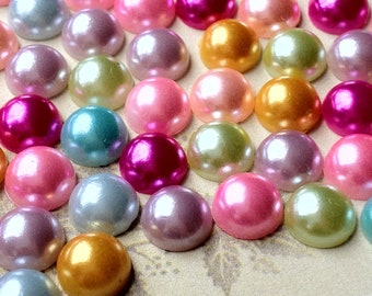 7mm Mixed Colour Pearlized Flat Back Pearl Cabochons (.ag)