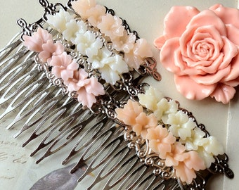 48 x 53 mm Handmade Silver Tone With 45mm Resin Flower Hair Comb