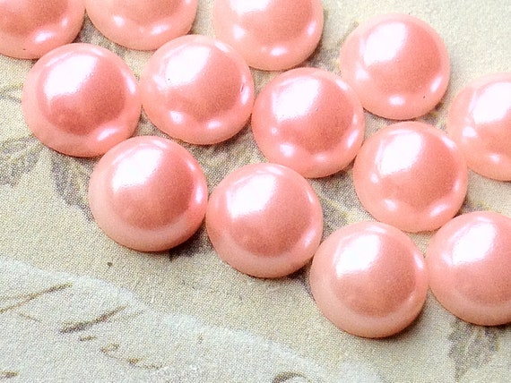 8 mm Light Light Pink Color Flat Back Pearl Cabochons (.mmu)