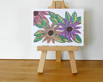 ABSTRACT FLOWER ART - Zentangle Inspired Daisy Drawing, Colorful Flower Bouquet, Colored Pencil and Ink Drawing, Fuschia, Orange, Red