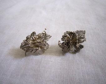 Vintage Silver Filligree Earrings