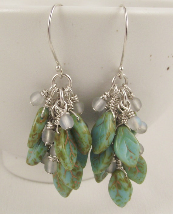 Morning Dew Leaf Earrings on Hand formed French wires