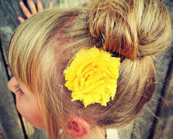 Mustard Yellow Flower Hair Clip
