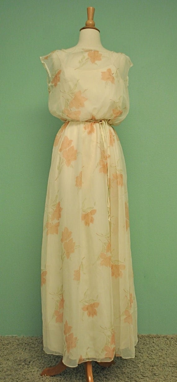 Vintage Floral Sheer Dress Great for Garden Wedding Bride - Romantic and Feminine 60s 70s Bohemian Bridal Gown