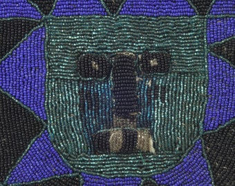 Vintage African Glass Beaded Purse, Cobalt Blue Green Black, Tribal Art, Collectible