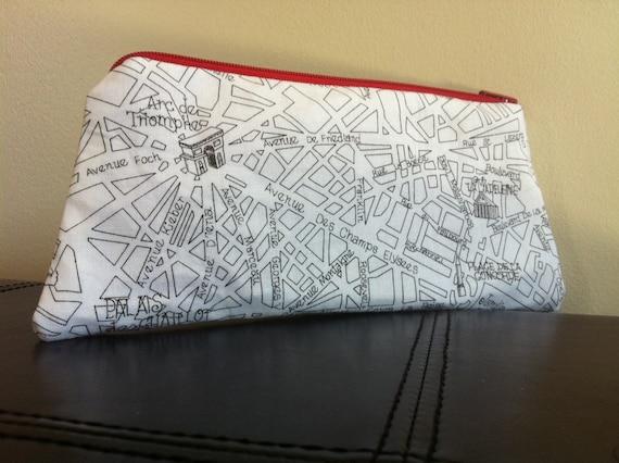 Paris Street Map Makeup Bag