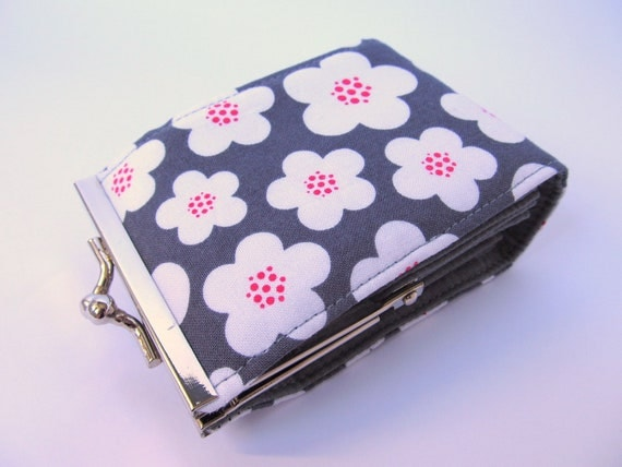 Credit card wallet Slate grey gray  White Flowers Business card case Frame purse