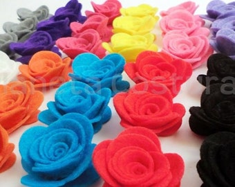 Felt Flower. 50 flower. Size: 33 - 35mm Pick your colors. Felt die cut, felt roses, felt shapes, felt supplies, applique, felt hair clips