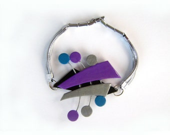 Purple polymer clay bracelet,  one of a kind, ready to ship