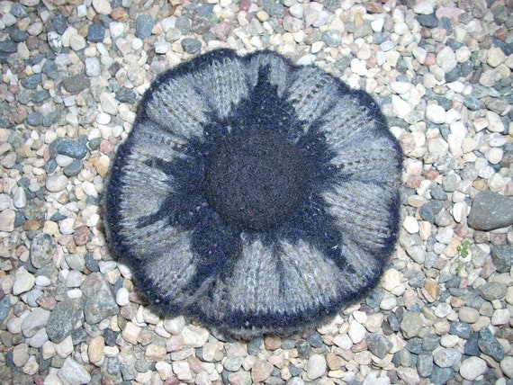 Black and Grey Felted Wool Sweater Pin