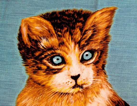 vintage KITTY CAT tea towel -- blue linen