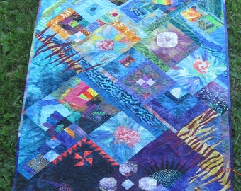 Sparkling Coral Reef Wall Quilt  55 x 35 inches