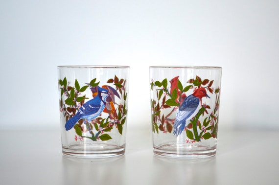 Arcoroc France glasses with birds set of 2