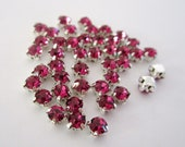 4mm Dark Pink Sew on Rhinestones . 20 Pcs