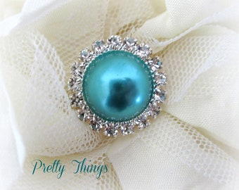 Turquoise Pearl and Rhinestone Buttons. QTY: 1 button