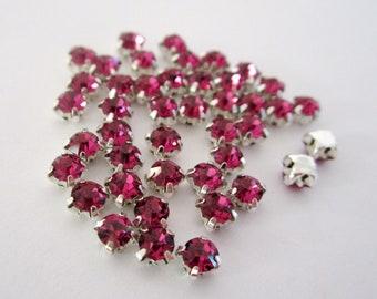 4mm Dark Pink Sew on Rhinestones . 20 Pcs