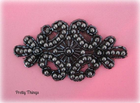 Black Beaded Applique Formal Wear Headband Sash