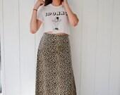 90s  grunge velvet cheetah maxi skirt