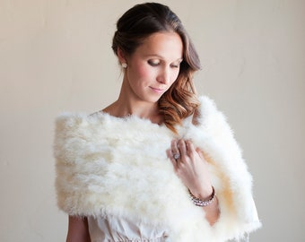 The Ptarmigan Shawl: Ivory feathered wedding shawl, winter wedding shawl