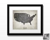 USA Map Art - Home Is Where The Heart Is Love Map - Original Custom Map Art Print Available in Multiple Size and Color Options
