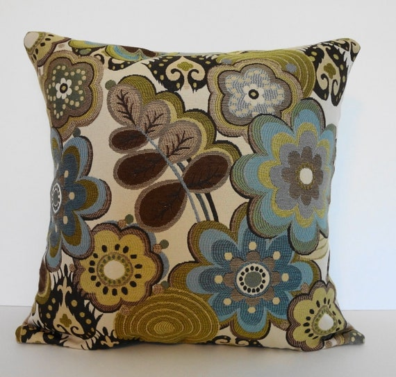 Decorative Pillow Cover, Throw Pillow Cover, Blue, Green, Brown, 18 x 18