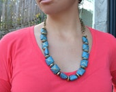 Square Turquoise and Gold Stone Bead Necklace